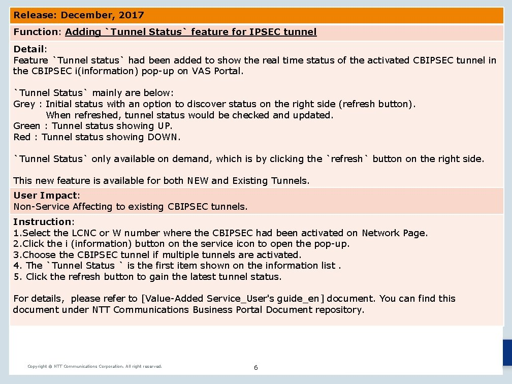 Release: December, 2017 Function: Adding `Tunnel Status` feature for IPSEC tunnel Detail: Feature `Tunnel
