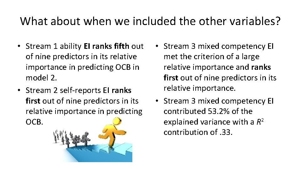 What about when we included the other variables? • Stream 1 ability EI ranks