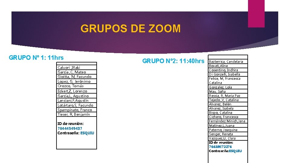 GRUPOS DE ZOOM GRUPO Nº 1: 11 hrs GRUPO Nº 2: 11: 40 hrs