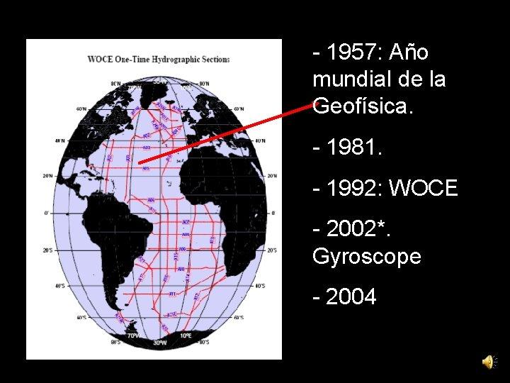 - 1957: Año mundial de la Geofísica. - 1981. - 1992: WOCE - 2002*.