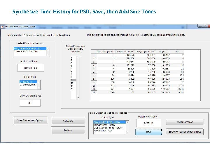 Synthesize Time History for PSD, Save, then Add Sine Tones