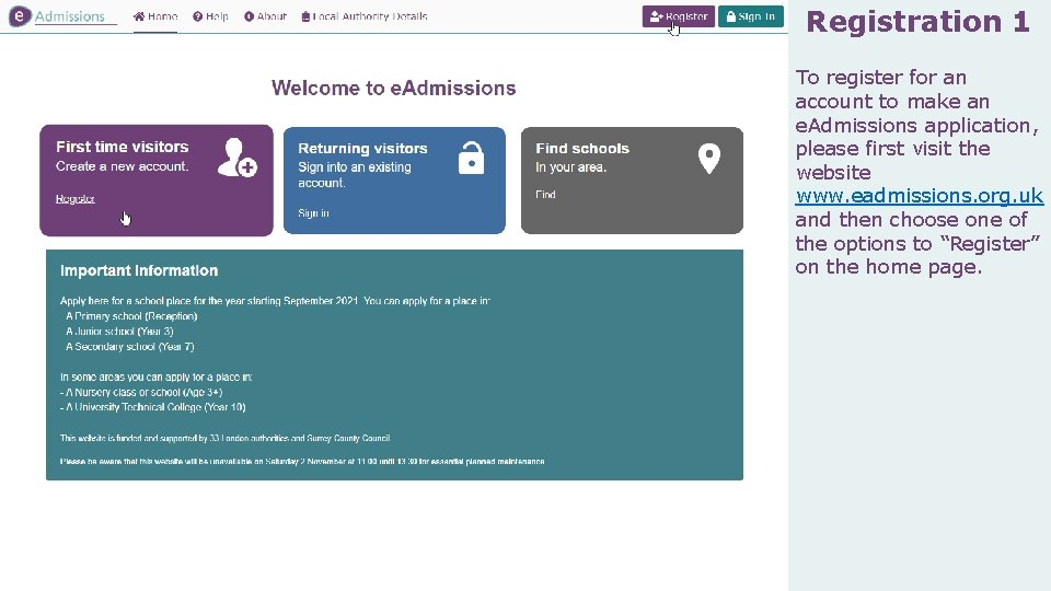 Registration 1 To register for an account to make an e. Admissions application, please