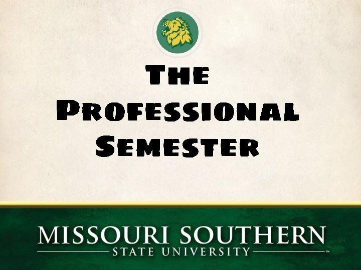 The Professional Semester