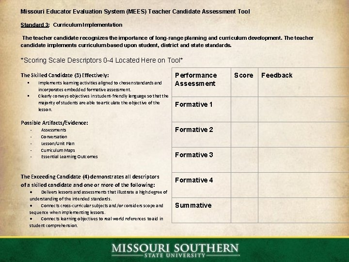 Missouri Educator Evaluation System (MEES) Teacher Candidate Assessment Tool Standard 3: Curriculum Implementation The