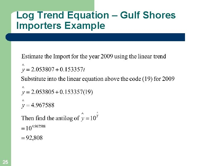 Log Trend Equation – Gulf Shores Importers Example 25