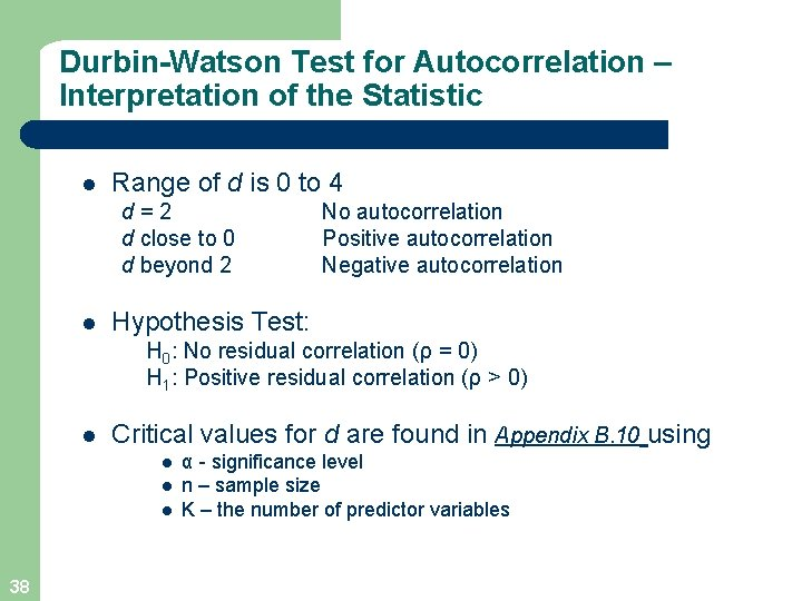 Durbin-Watson Test for Autocorrelation – Interpretation of the Statistic l Range of d is