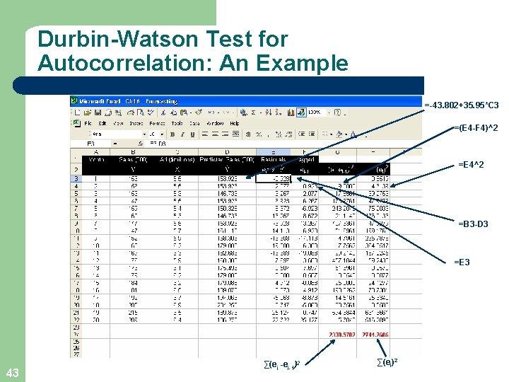 Durbin-Watson Test for Autocorrelation: An Example =-43. 802+35. 95*C 3 =(E 4 -F 4)^2