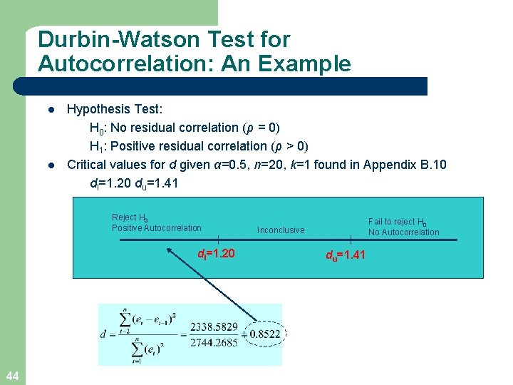 Durbin-Watson Test for Autocorrelation: An Example l l Hypothesis Test: H 0: No residual