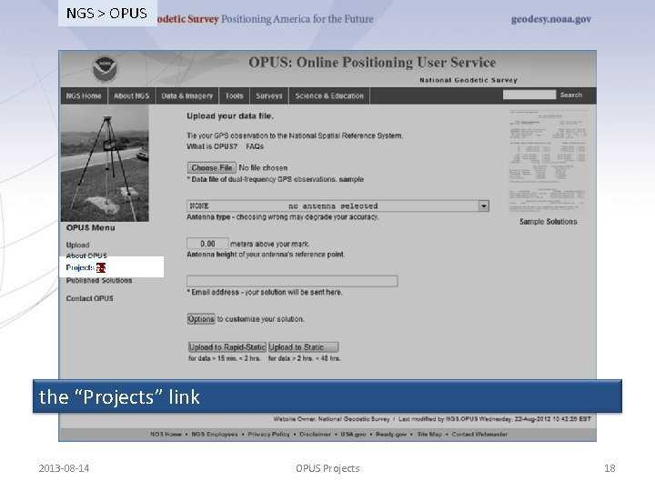 """NGS > OPUS the """"Projects"""" link 2013 -08 -14 OPUS Projects 18"""