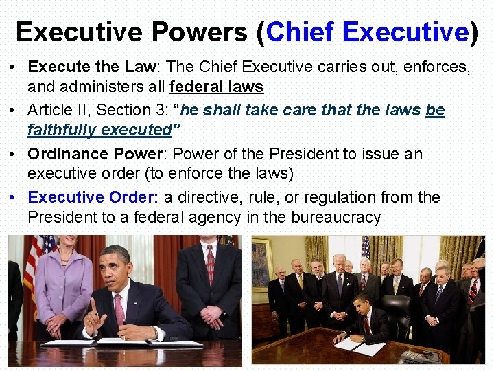 Executive Powers (Chief Executive) • Execute the Law: The Chief Executive carries out, enforces,
