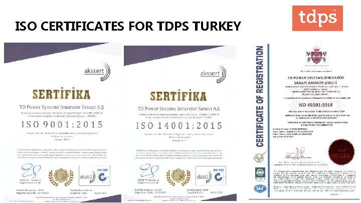 ISO CERTIFICATES FOR TDPS TURKEY