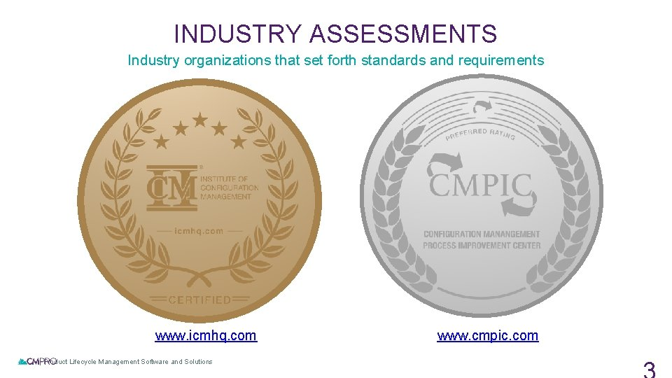 INDUSTRY ASSESSMENTS Industry organizations that set forth standards and requirements www. icmhq. com |