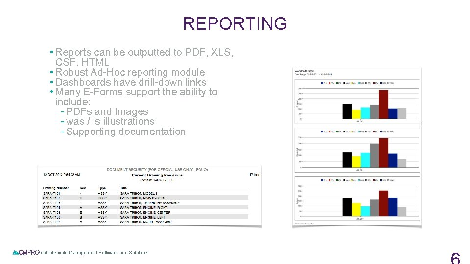 REPORTING • Reports can be outputted to PDF, XLS, CSF, HTML • Robust Ad-Hoc