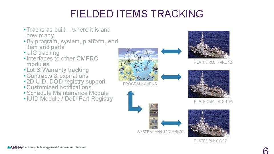 FIELDED ITEMS TRACKING • Tracks as-built – where it is and how many •