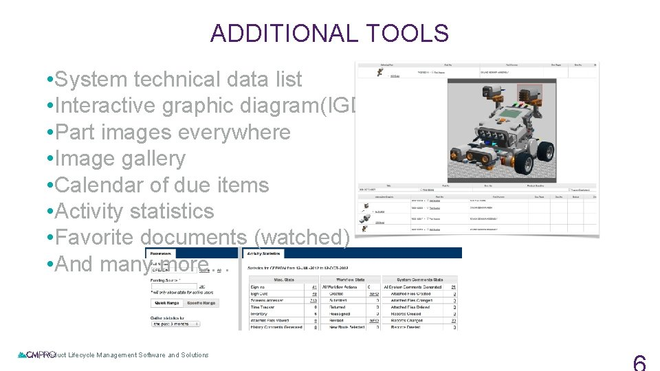 ADDITIONAL TOOLS • System technical data list • Interactive graphic diagram(IGD) module • Part