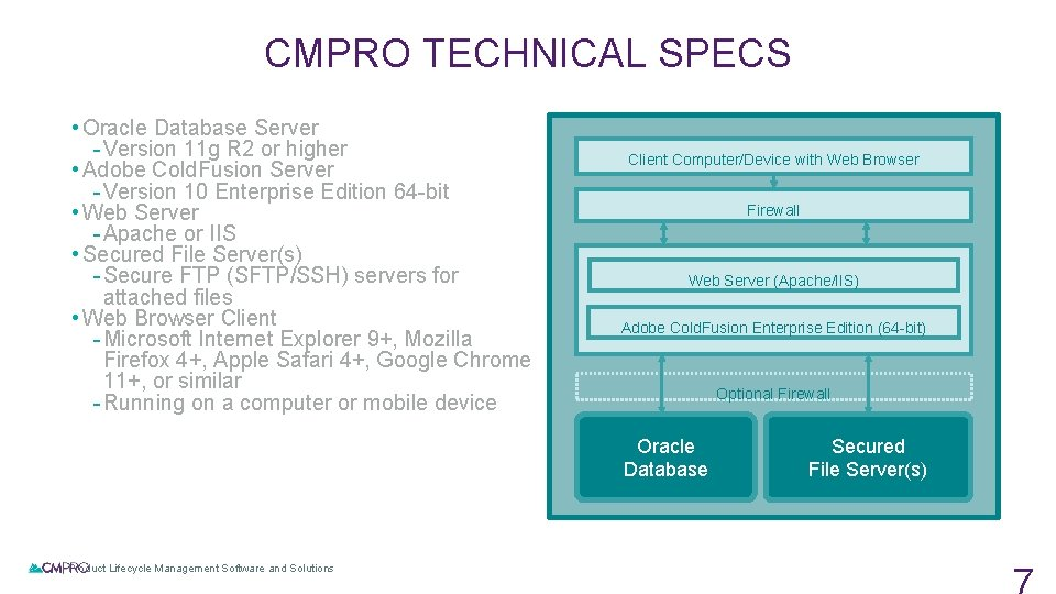 CMPRO TECHNICAL SPECS • Oracle Database Server - Version 11 g R 2 or