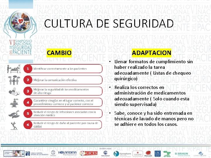 CULTURA DE SEGURIDAD CAMBIO ADAPTACION • Llenar formatos de cumplimiento sin haber realizado la