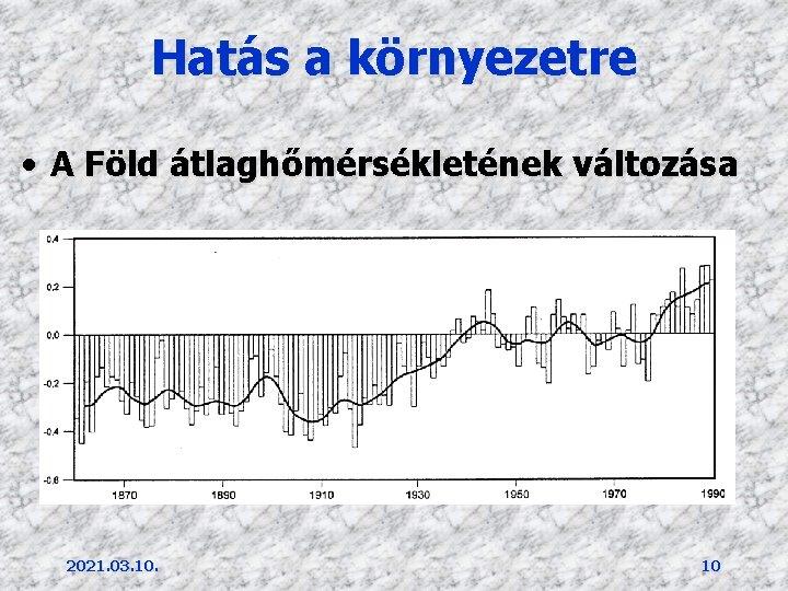 Hatás a környezetre • A Föld átlaghőmérsékletének változása 2021. 03. 10. 10