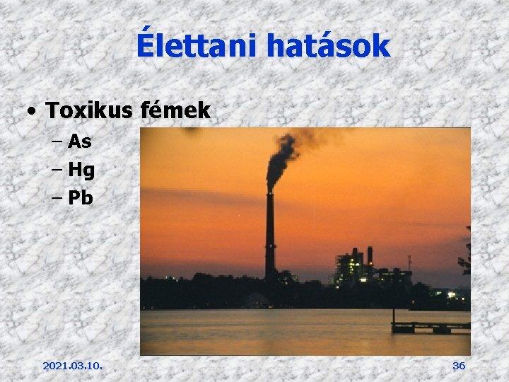 Élettani hatások • Toxikus fémek – As – Hg – Pb 2021. 03. 10.