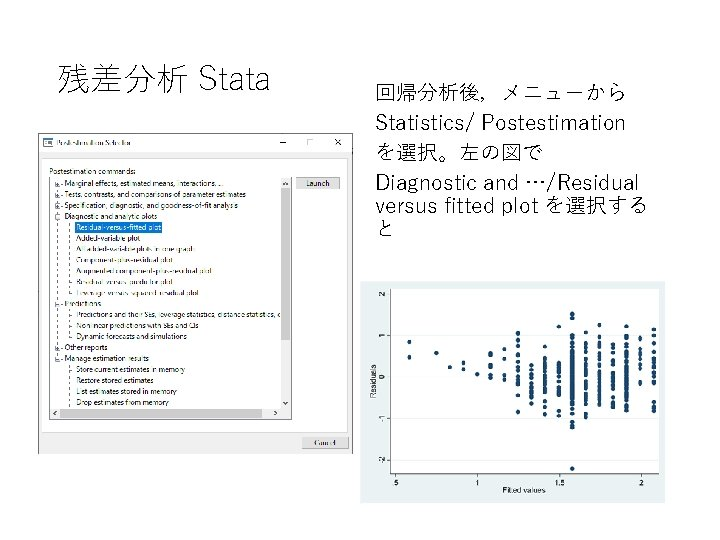 残差分析 Stata 回帰分析後,メニューから Statistics/ Postestimation を選択。左の図で Diagnostic and …/Residual versus fitted plot を選択する と