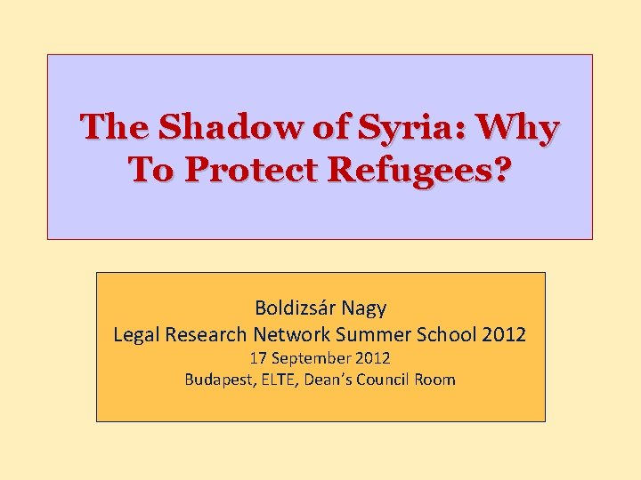 The Shadow of Syria: Why To Protect Refugees? Boldizsár Nagy Legal Research Network Summer