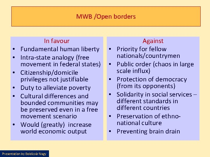 MWB /Open borders • • • In favour Fundamental human liberty Intra-state analogy (free