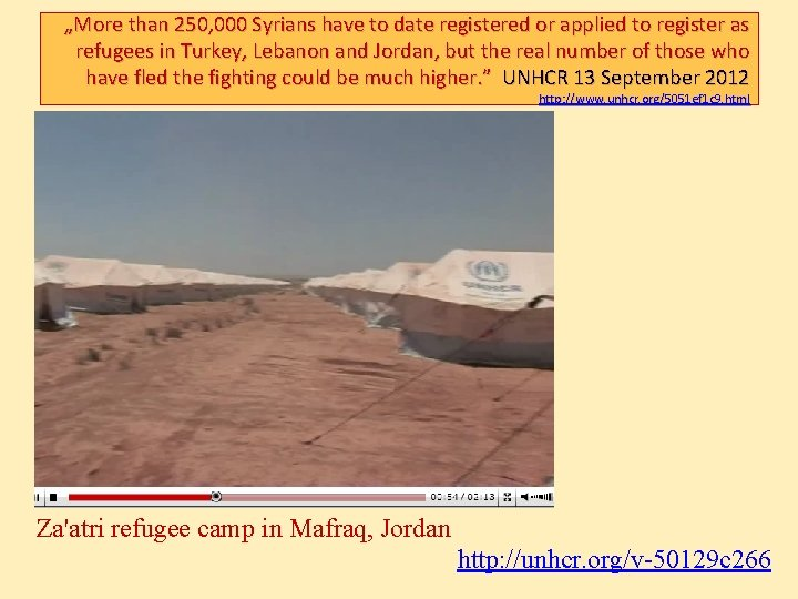 """""""More than 250, 000 Syrians have to date registered or applied to register as"""
