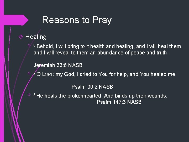 Reasons to Pray Healing 6 Behold, I will bring to it health and healing,
