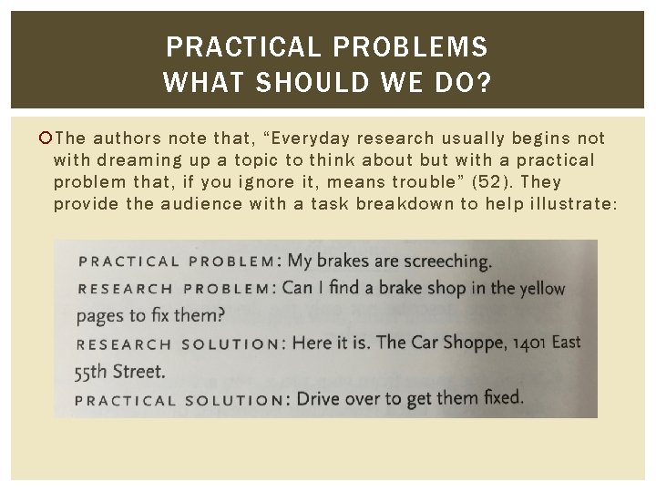 """PRACTICAL PROBLEMS WHAT SHOULD WE DO? The authors note that, """"Everyday research usually begins"""
