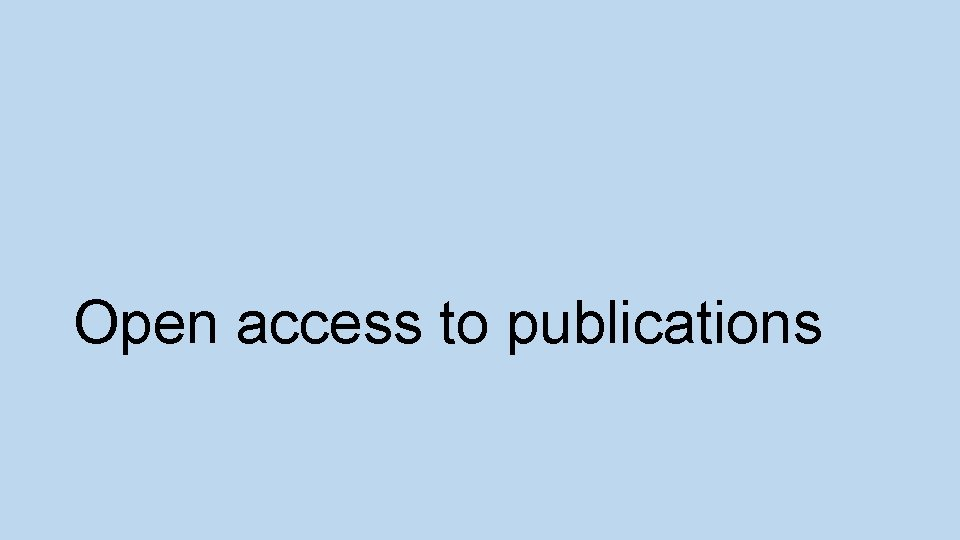 Open access to publications
