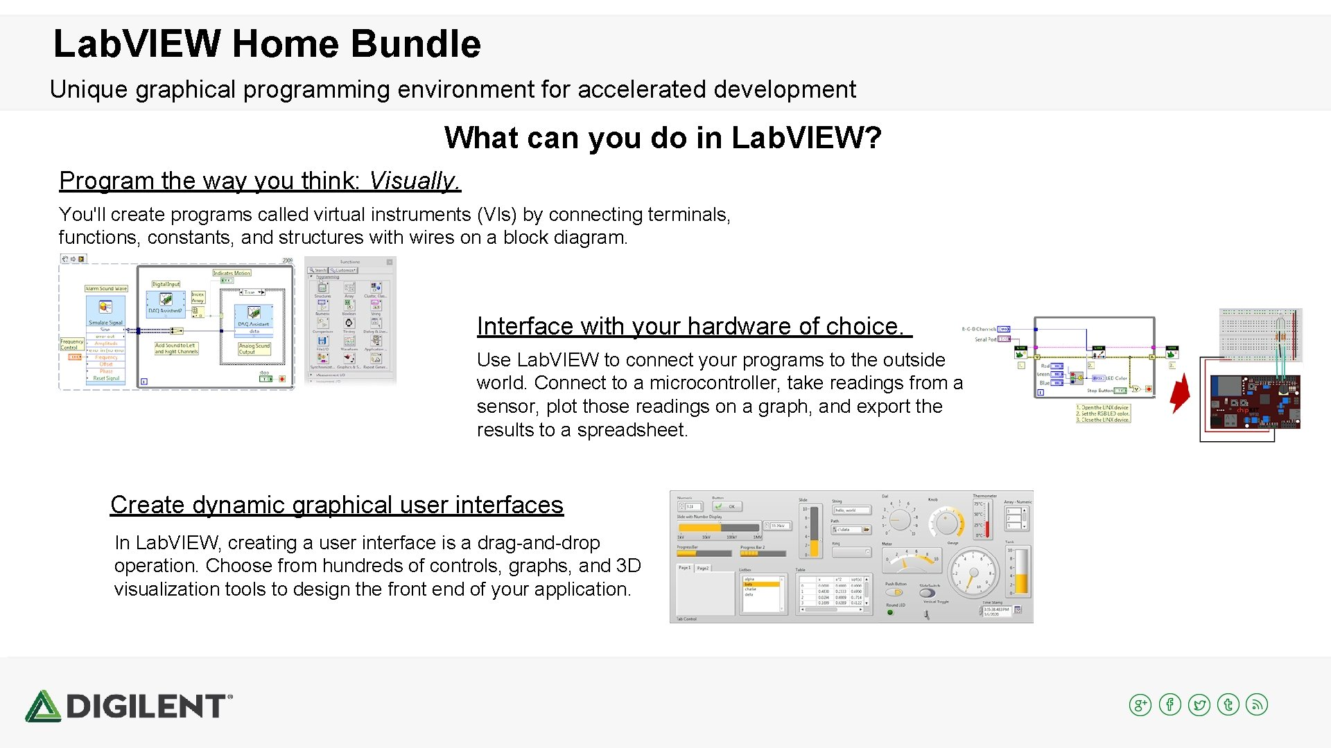 Lab. VIEW Home Bundle Unique graphical programming environment for accelerated development What can you