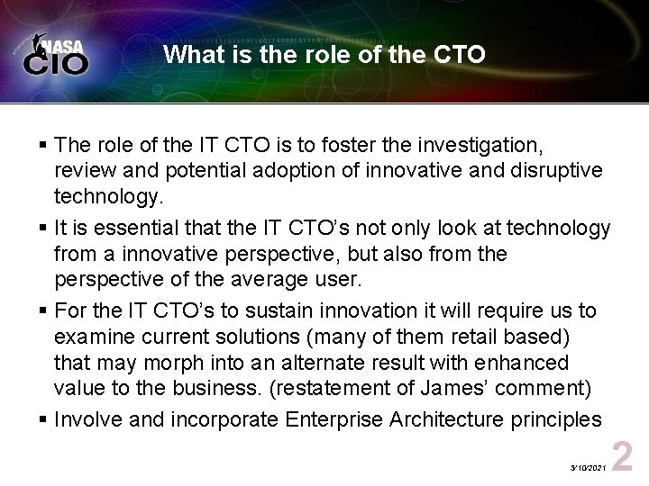 What is the role of the CTO § The role of the IT CTO