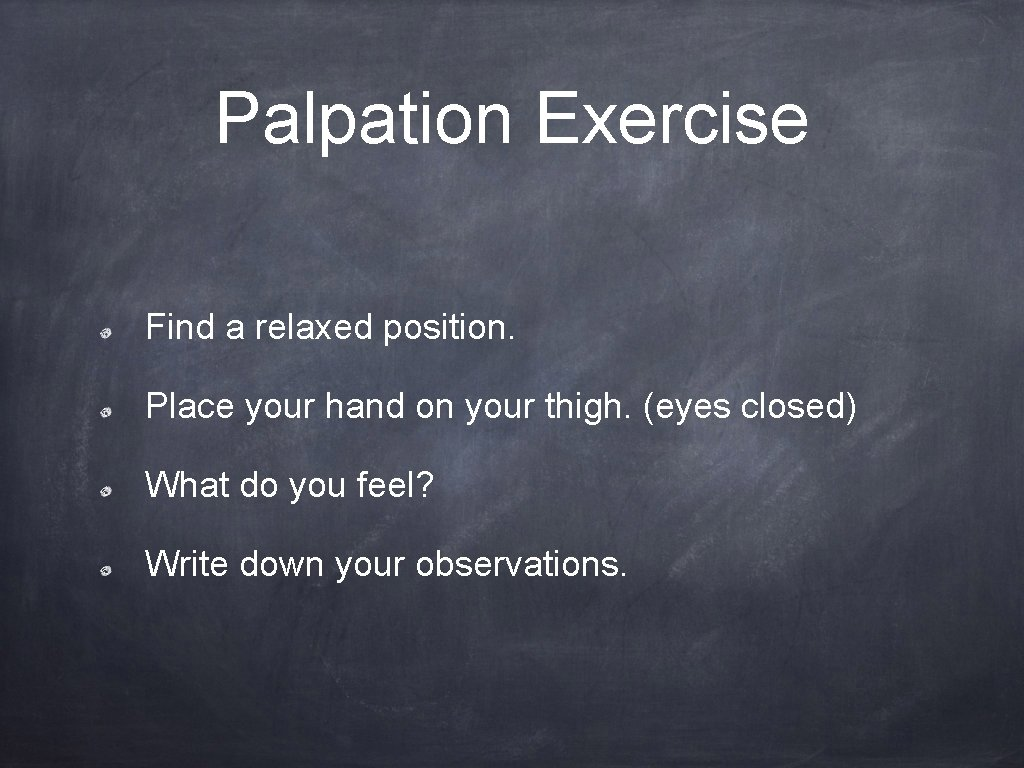 Palpation Exercise Find a relaxed position. Place your hand on your thigh. (eyes closed)