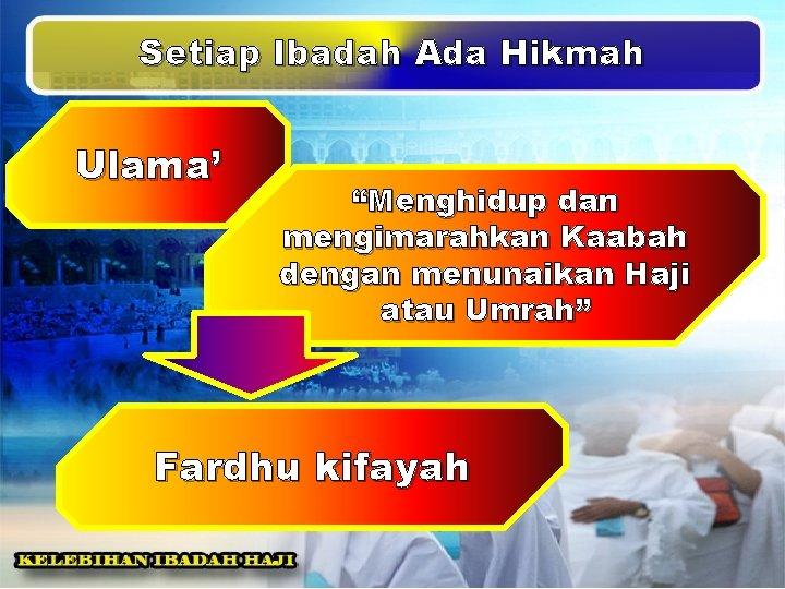 """Setiap Ibadah Ada Hikmah Ulama' """"Menghidup dan mengimarahkan Kaabah dengan menunaikan Haji atau Umrah"""""""