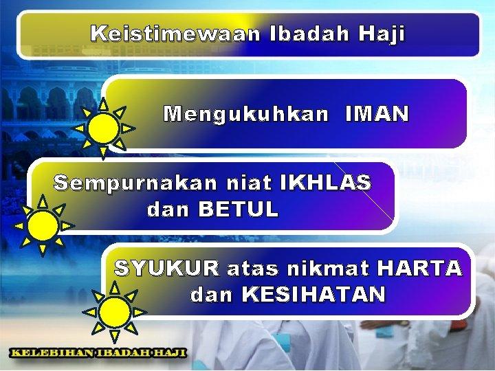 Keistimewaan Ibadah Haji Mengukuhkan IMAN Sempurnakan niat IKHLAS dan BETUL SYUKUR atas nikmat HARTA