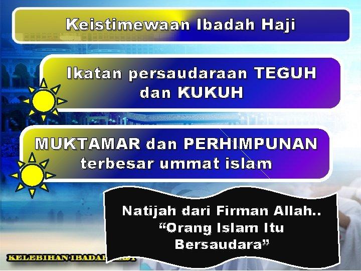 Keistimewaan Ibadah Haji Ikatan persaudaraan TEGUH dan KUKUH MUKTAMAR dan PERHIMPUNAN terbesar ummat islam