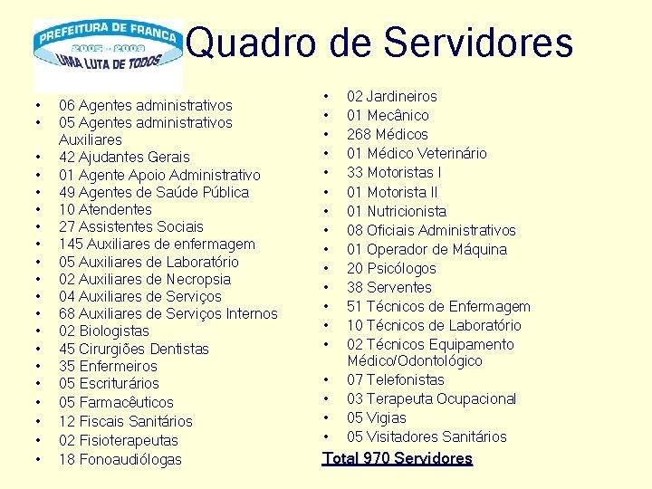 Quadro de Servidores • • • • • 06 Agentes administrativos 05 Agentes