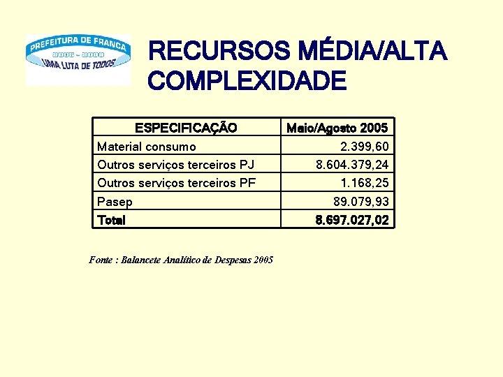 RECURSOS MÉDIA/ALTA COMPLEXIDADE ESPECIFICAÇÃO Material consumo Outros serviços terceiros PJ Outros serviços terceiros PF