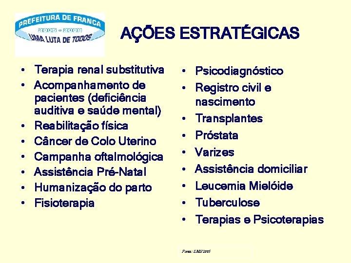 AÇÕES ESTRATÉGICAS • Terapia renal substitutiva • Acompanhamento de pacientes (deficiência auditiva e saúde