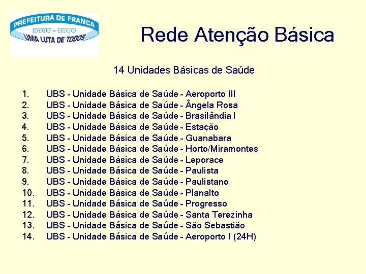 Rede Atenção Básica 14 Unidades Básicas de Saúde 1. 2. 3. 4. 5. 6.