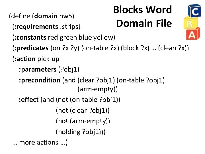 Blocks Word Domain File (define (domain hw 5) (: requirements : strips) (: constants