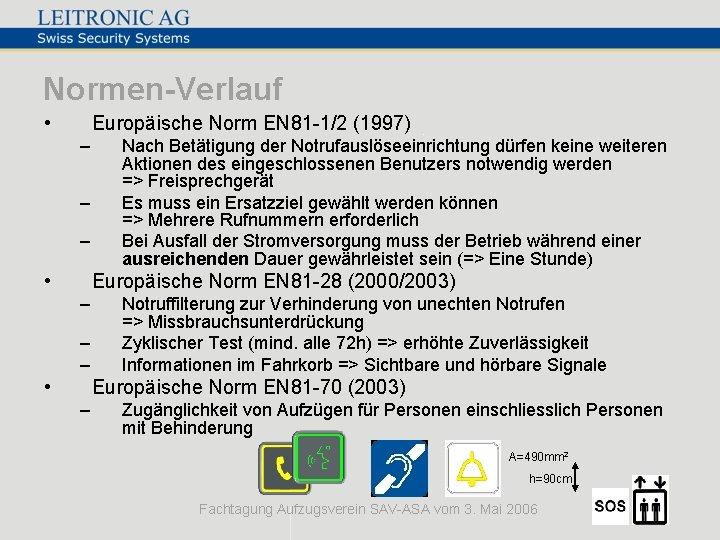 Normen-Verlauf • Europäische Norm EN 81 -1/2 (1997) – – – • Nach Betätigung