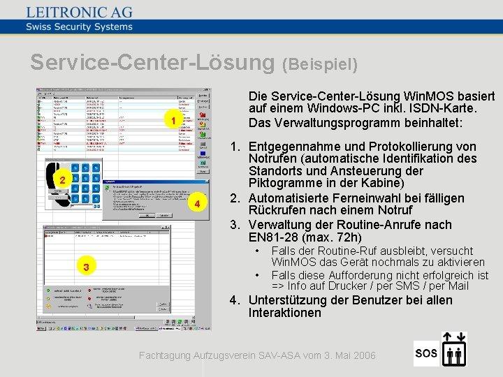 Service-Center-Lösung (Beispiel) Die Service-Center-Lösung Win. MOS basiert auf einem Windows-PC inkl. ISDN-Karte. Das Verwaltungsprogramm
