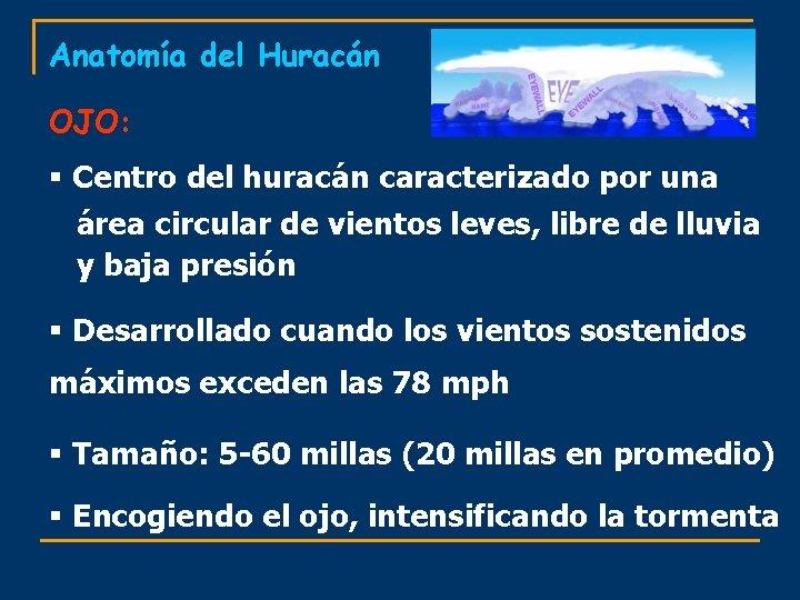 Anatomía del Huracán OJO: § Centro del huracán caracterizado por una área circular de