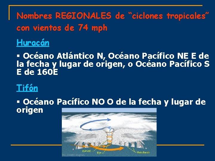 """Nombres REGIONALES de """"ciclones tropicales"""" con vientos de 74 mph Huracán § Océano Atlántico"""