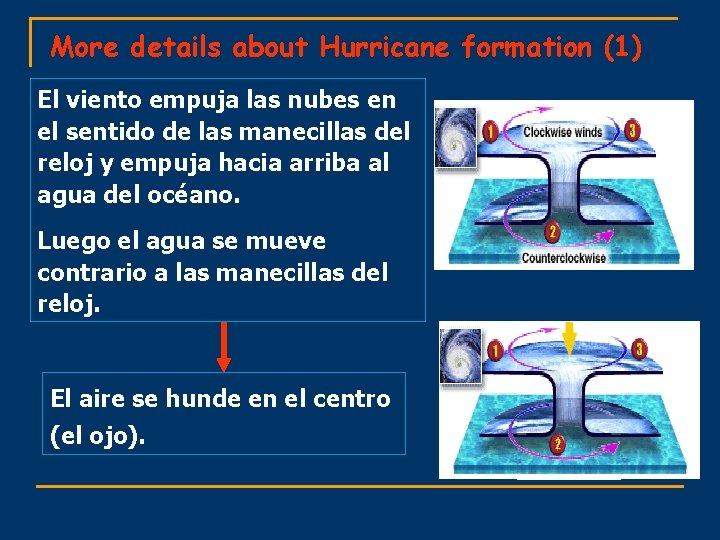 More details about Hurricane formation (1) El viento empuja las nubes en el sentido