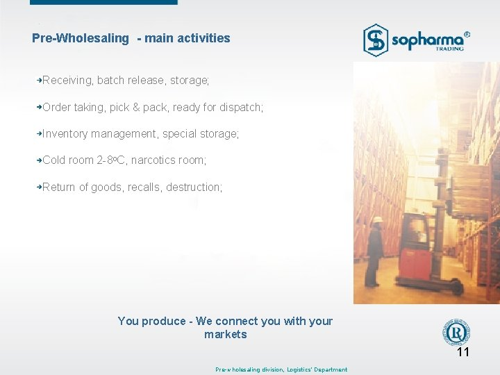 Pre-Wholesaling - main activities Receiving, batch release, storage; Order taking, pick & pack, ready