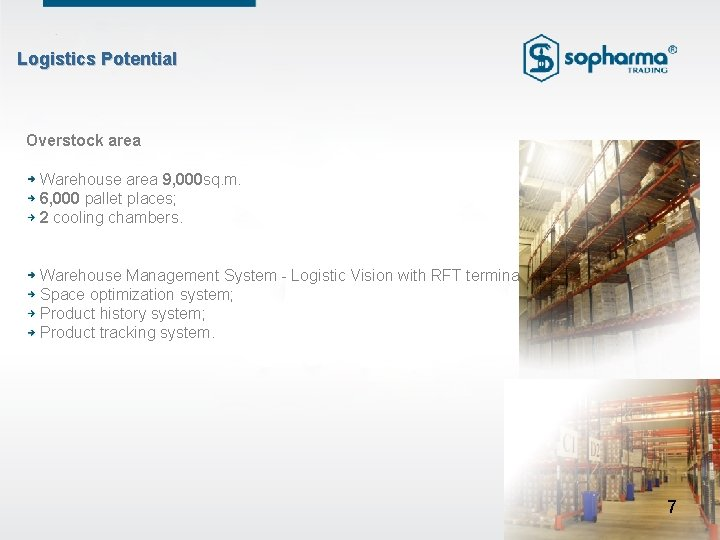 Logistics Potential Overstock area Warehouse area 9, 000 sq. m. 6, 000 pallet places;