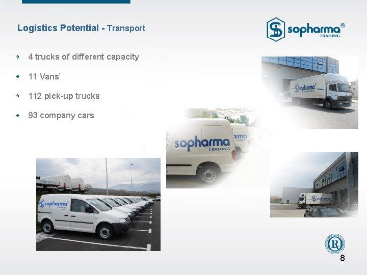 Logistics Potential - Transport 4 trucks of different capacity 11 Vans` 112 pick-up trucks