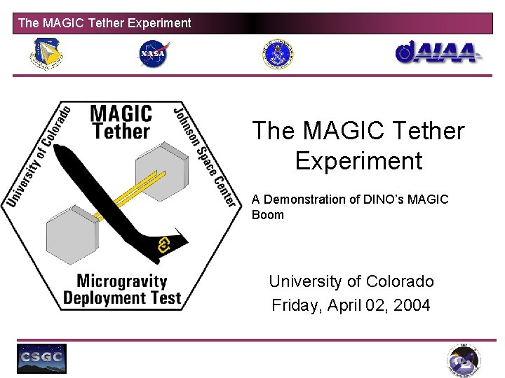 The MAGIC Tether Experiment A Demonstration of DINO's MAGIC Boom University of Colorado Friday,